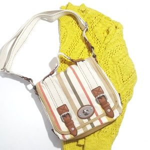 Fossil Maddox Canvas Stripe Messenger Crossbody